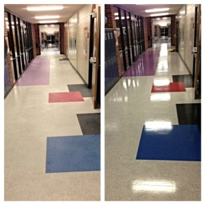 Before & After - School Hallway coated