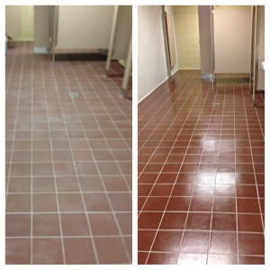 Before & After - Restroom that was color sealed and coated